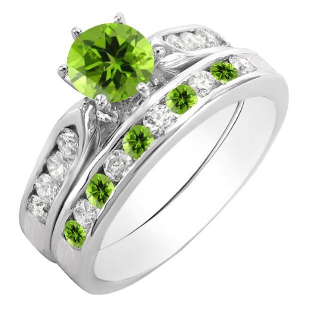 1.00 Carat (ctw) 14K White Gold Round Peridot & White Diamond Ladies Bridal Engagement Ring Set With Matching Band 1 CT