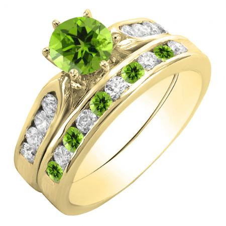 1.00 Carat (ctw) 18K Yellow Gold Round Peridot & White Diamond Ladies Bridal Engagement Ring Set With Matching Band 1 CT