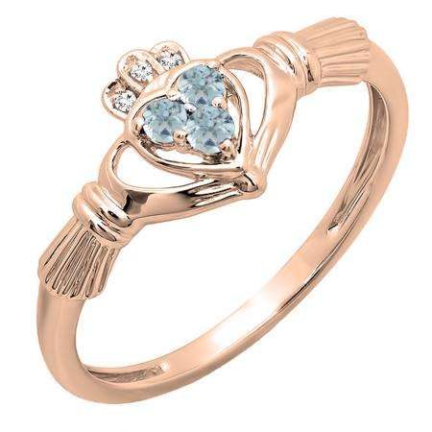 0.15 Carat (ctw) 10k Rose Gold Round White Diamond And Aquamarine Ladies Bridal Promise Irish Love And Friendship Band Claddagh Heart Shape Ring