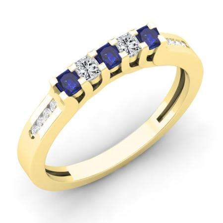 0.35 Carat (ctw) 18K Yellow Gold Princess & Round Cut Blue Sapphire & White Diamond Ladies Anniversary Wedding Stackable Band Guard Ring 1/3 CT