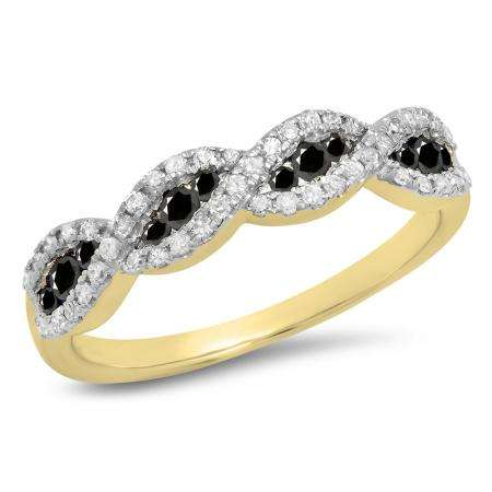 0.35 Carat (ctw) 18K Yellow Gold Round Black & White Diamond Ladies Bridal Stackable Anniversary Wedding Band Swirl Ring 1/3CT