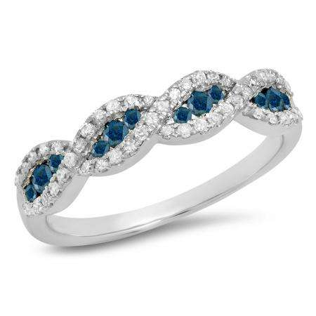 0.35 Carat (ctw) 10K White Gold Round Blue & White Diamond Ladies Bridal Stackable Anniversary Wedding Band Swirl Ring 1/3 CT