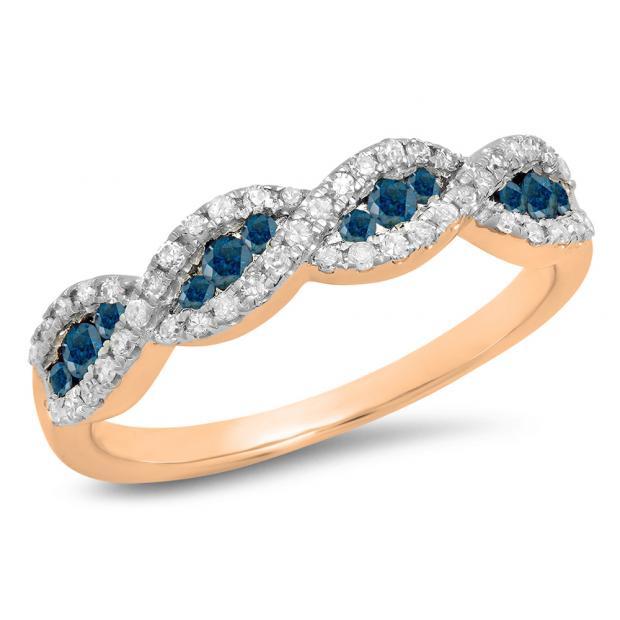 0.35 Carat (ctw) 18K Rose Gold Round Blue & White Diamond Ladies Bridal Stackable Anniversary Wedding Band Swirl Ring 1/3 CT