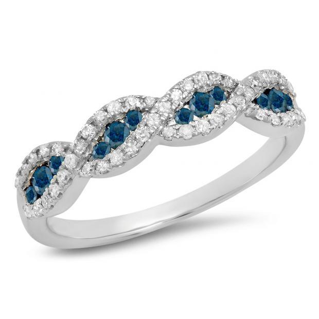 0.35 Carat (ctw) 18K White Gold Round Blue & White Diamond Ladies Bridal Stackable Anniversary Wedding Band Swirl Ring 1/3 CT