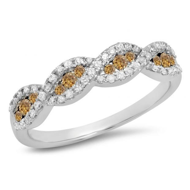 0.35 Carat (ctw) 10K White Gold Round Champagne & White Diamond Ladies Bridal Stackable Anniversary Wedding Band Swirl Ring 1/3 CT
