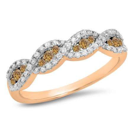 0.35 Carat (ctw) 18K Rose Gold Round Champagne & White Diamond Ladies Bridal Stackable Anniversary Wedding Band Swirl Ring 1/3 CT
