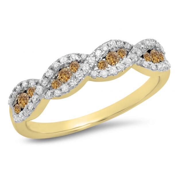 0.35 Carat (ctw) 18K Yellow Gold Round Champagne & White Diamond Ladies Bridal Stackable Anniversary Wedding Band Swirl Ring 1/3 CT