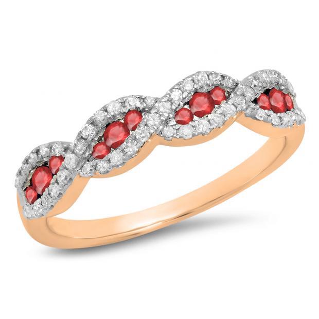 0.35 Carat (ctw) 18K Rose Gold Round Ruby & White Diamond Ladies Bridal Stackable Anniversary Wedding Band Swirl Ring 1/3 CT