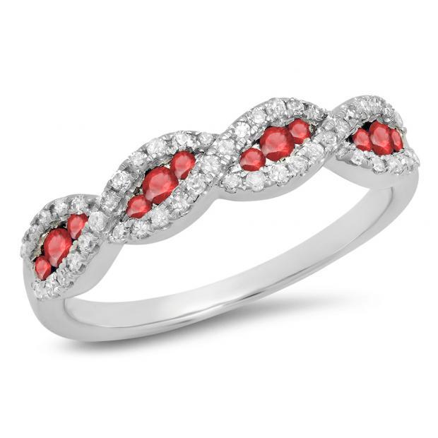 0.35 Carat (ctw) 18K White Gold Round Ruby & White Diamond Ladies Bridal Stackable Anniversary Wedding Band Swirl Ring 1/3 CT