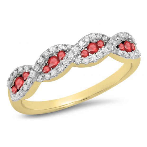 0.35 Carat (ctw) 18K Yellow Gold Round Ruby & White Diamond Ladies Bridal Stackable Anniversary Wedding Band Swirl Ring 1/3 CT