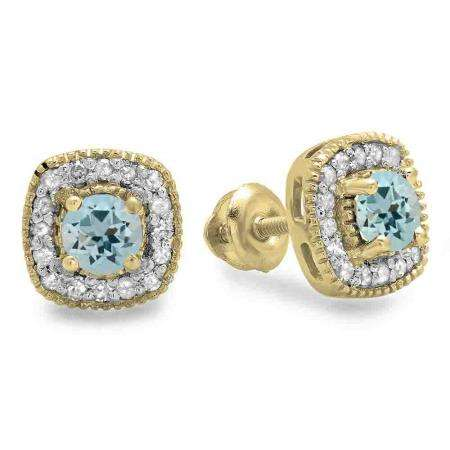 0.75 Carat (ctw) 14K Yellow Gold Round Cut Aquamarine & White Diamond Ladies Halo Stud Earrings 3/4 CT