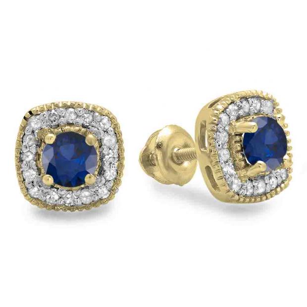 0.75 Carat (ctw) 18K Yellow Gold Round Cut Blue Sapphire & White Diamond Ladies Halo Stud Earrings 3/4 CT