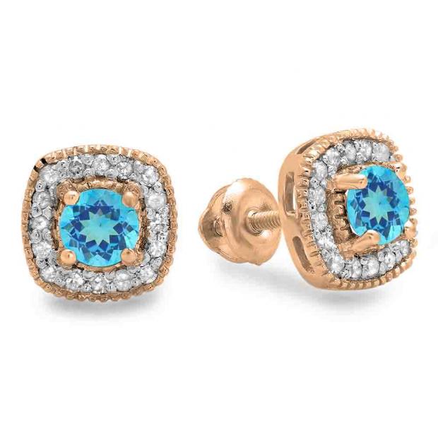 0.75 Carat (ctw) 10K Rose Gold Round Cut Blue Topaz & White Diamond Ladies Halo Stud Earrings 3/4 CT