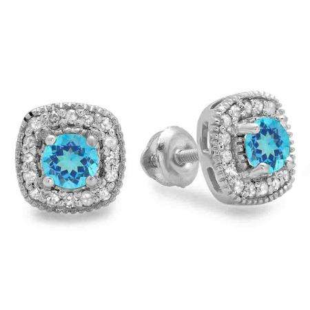 0.75 Carat (ctw) 14K White Gold Round Cut Blue Topaz & White Diamond Ladies Halo Stud Earrings 3/4 CT