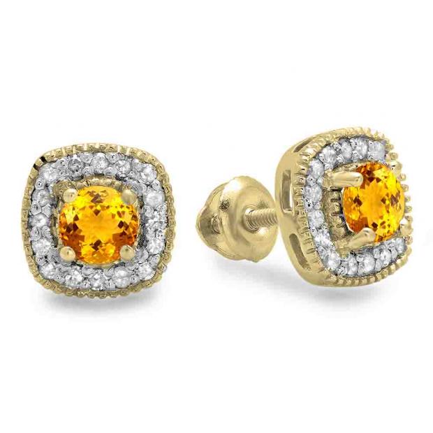 0.75 Carat (ctw) 10K Yellow Gold Round Cut Citrine & White Diamond Ladies Halo Stud Earrings 3/4 CT