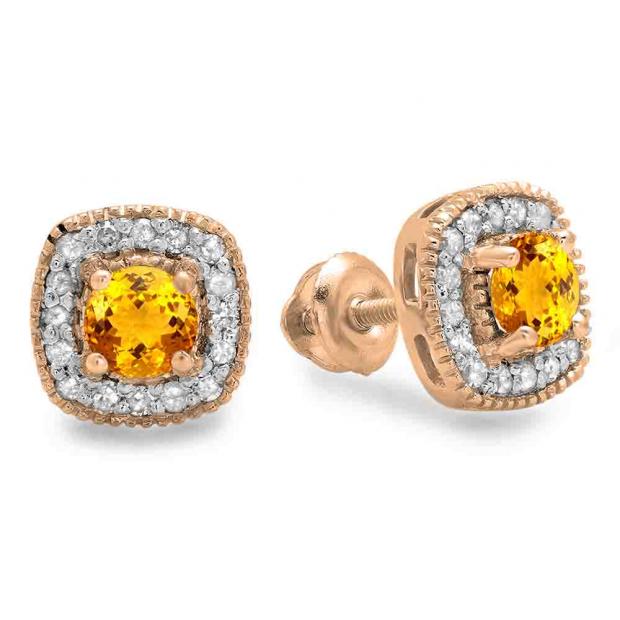 0.75 Carat (ctw) 14K Rose Gold Round Cut Citrine & White Diamond Ladies Halo Stud Earrings 3/4 CT