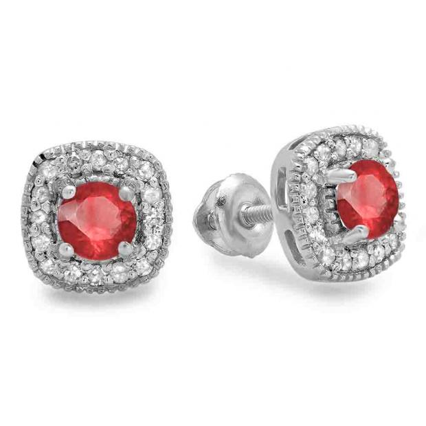 0.75 Carat (ctw) 14K White Gold Round Cut Ruby & White Diamond Ladies Halo Stud Earrings 3/4 CT