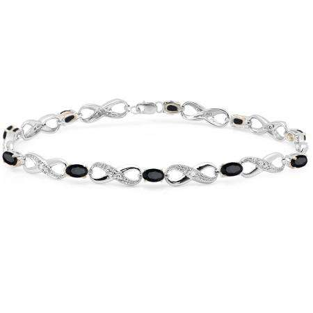 2.27 Carat (ctw) 10K White Gold Real Oval Cut Black Sapphire & Round Cut White Diamond Ladies Infinity Link Tennis Bracelet