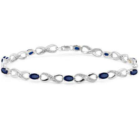 2.27 Carat (ctw) 18K White Gold Real Oval Cut Blue Sapphire & Round Cut White Diamond Ladies Infinity Link Tennis Bracelet
