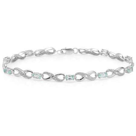 2.89 Carat (ctw) 18K White Gold Real Oval Cut Blue Topaz & Round Cut White Diamond Ladies Infinity Link Tennis Bracelet