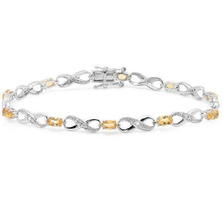 2.27 Carat (ctw) 10K White Gold Real Oval Cut Citrine & Round Cut White Diamond Ladies Infinity Link Tennis Bracelet