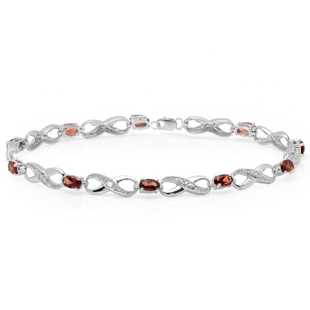 2.70 Carat (ctw) 18K White Gold Real Oval Cut Garnet & Round Cut White Diamond Ladies Infinity Link Tennis Bracelet