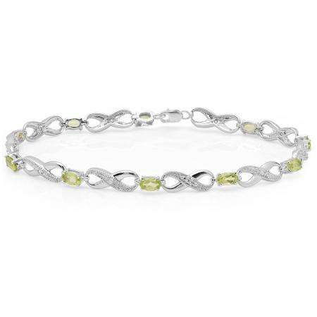 2.38 Carat (ctw) 18K White Gold Real Oval Cut Peridot & Round Cut White Diamond Ladies Infinity Link Tennis Bracelet