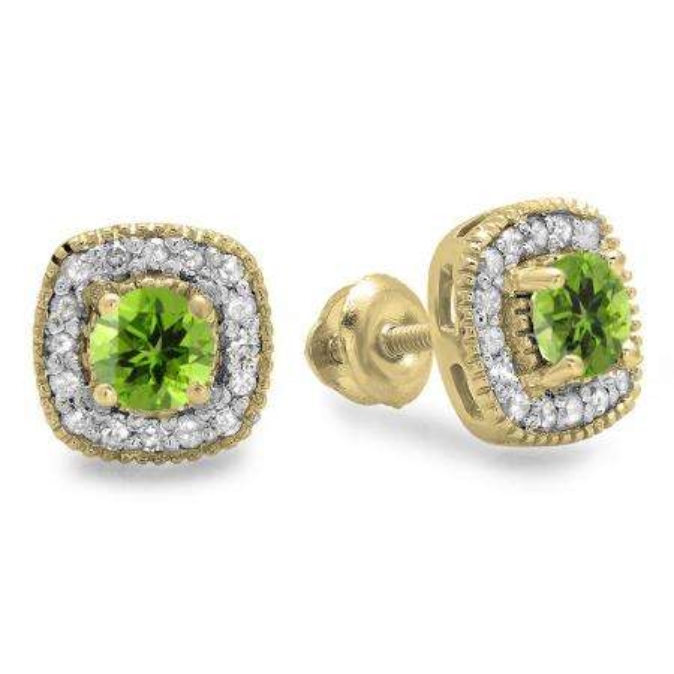 0.75 Carat (ctw) 10K Yellow Gold Round Cut Peridot & White Diamond Ladies Halo Stud Earrings 3/4 CT