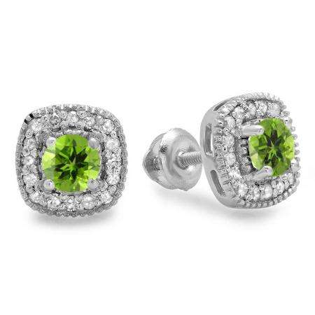0.75 Carat (ctw) 18K White Gold Round Cut Peridot & White Diamond Ladies Halo Stud Earrings 3/4 CT