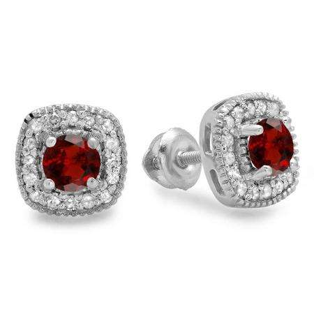 0.75 Carat (ctw) 18K White Gold Round Cut Garnet & White Diamond Ladies Halo Stud Earrings 3/4 CT