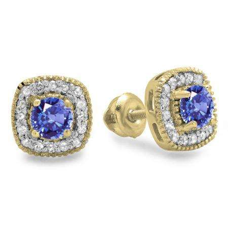 0.75 Carat (ctw) 14K Yellow Gold Round Cut Tanzanite & White Diamond Ladies Halo Stud Earrings 3/4 CT