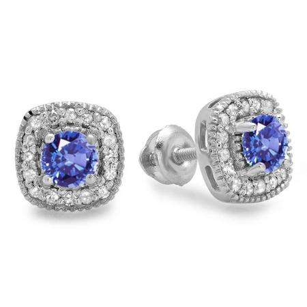 0.75 Carat (ctw) 18K White Gold Round Cut Tanzanite & White Diamond Ladies Halo Stud Earrings 3/4 CT