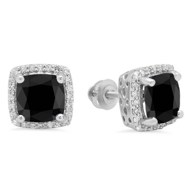 2.80 Carat (ctw) 10K White Gold Cushion Cut Black Diamond & Round Cut White Diamond Ladies Square Frame Halo Stud Earrings