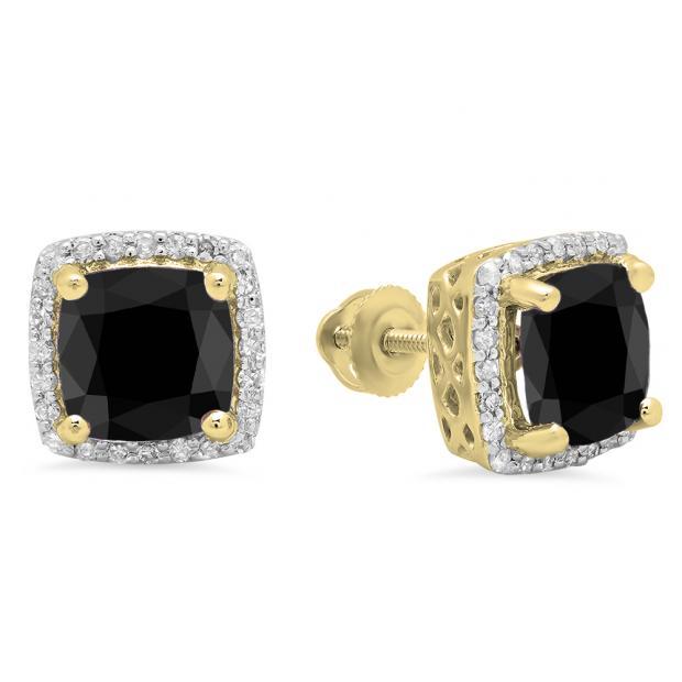 2.80 Carat (ctw) 18K Yellow Gold Cushion Cut Black Diamond & Round Cut White Diamond Ladies Square Frame Halo Stud Earrings