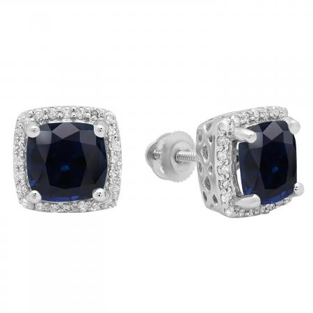 2.80 Carat (ctw) 10K White Gold Cushion Cut Blue Sapphire & Round Cut White Diamond Ladies Square Frame Halo Stud Earrings