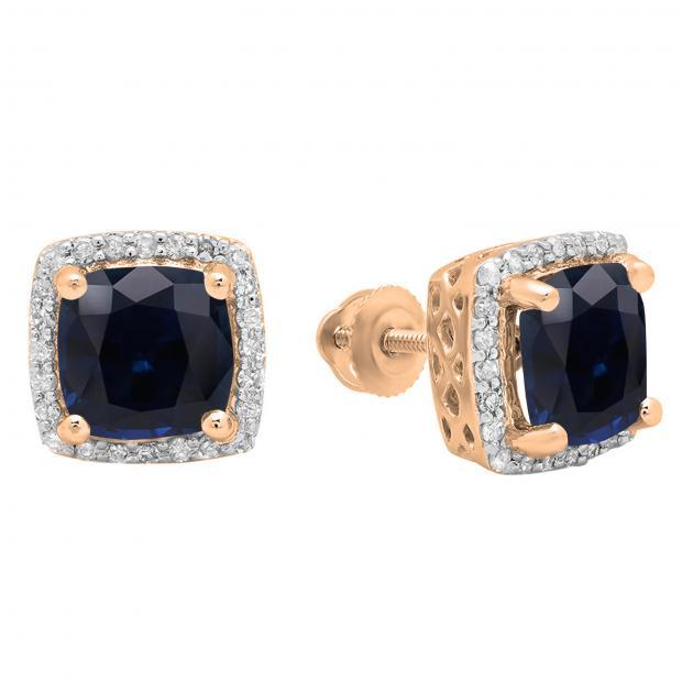 2.80 Carat (ctw) 14K Rose Gold Cushion Cut Blue Sapphire & Round Cut White Diamond Ladies Square Frame Halo Stud Earrings