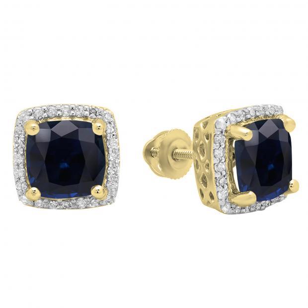 2.80 Carat (ctw) 18K Yellow Gold Cushion Cut Blue Sapphire & Round Cut White Diamond Ladies Square Frame Halo Stud Earrings