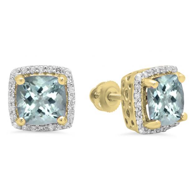 2.80 Carat (ctw) 10K Yellow Gold Cushion Cut Aquamarine & Round Cut White Diamond Ladies Square Frame Halo Stud Earrings
