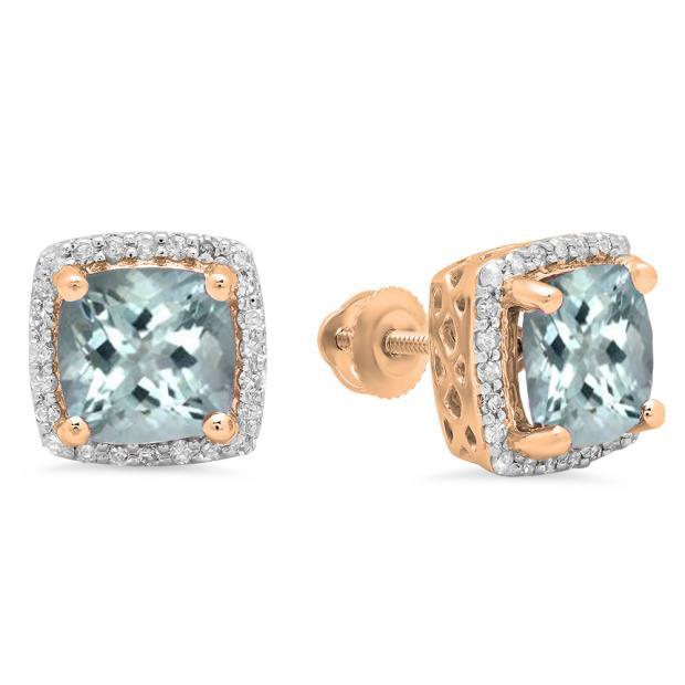 2.80 Carat (ctw) 18K Rose Gold Cushion Cut Aquamarine & Round Cut White Diamond Ladies Square Frame Halo Stud Earrings