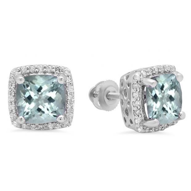 2.80 Carat (ctw) 18K White Gold Cushion Cut Aquamarine & Round Cut White Diamond Ladies Square Frame Halo Stud Earrings