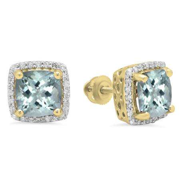 2.80 Carat (ctw) 18K Yellow Gold Cushion Cut Aquamarine & Round Cut White Diamond Ladies Square Frame Halo Stud Earrings
