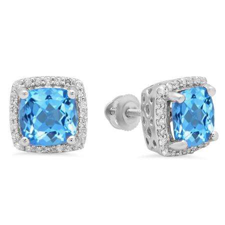 2.80 Carat (ctw) 18K White Gold Cushion Cut Blue Topaz & Round Cut White Diamond Ladies Square Frame Halo Stud Earrings