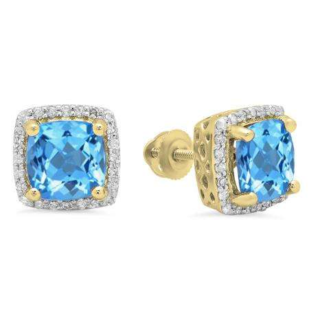 2.80 Carat (ctw) 18K Yellow Gold Cushion Cut Blue Topaz & Round Cut White Diamond Ladies Square Frame Halo Stud Earrings