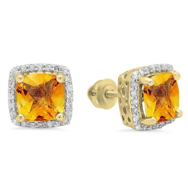 2.80 Carat (ctw) 10K Yellow Gold Cushion Cut Citrine & Round Cut White Diamond Ladies Square Frame Halo Stud Earrings