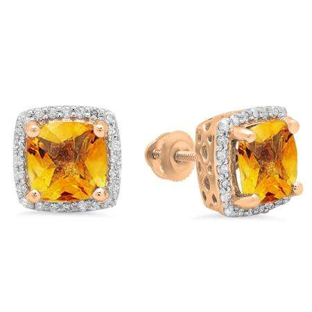 2.80 Carat (ctw) 14K Rose Gold Cushion Cut Citrine & Round Cut White Diamond Ladies Square Frame Halo Stud Earrings