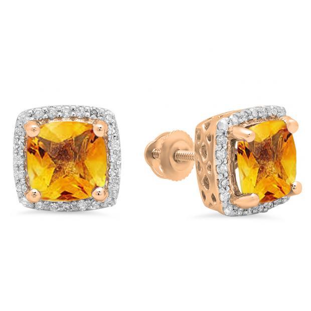 2.80 Carat (ctw) 18K Rose Gold Cushion Cut Citrine & Round Cut White Diamond Ladies Square Frame Halo Stud Earrings