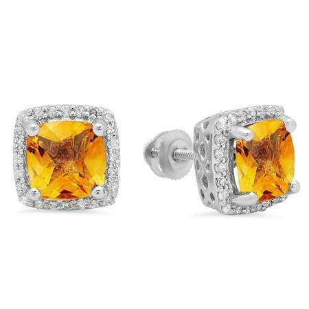 2.80 Carat (ctw) 18K White Gold Cushion Cut Citrine & Round Cut White Diamond Ladies Square Frame Halo Stud Earrings
