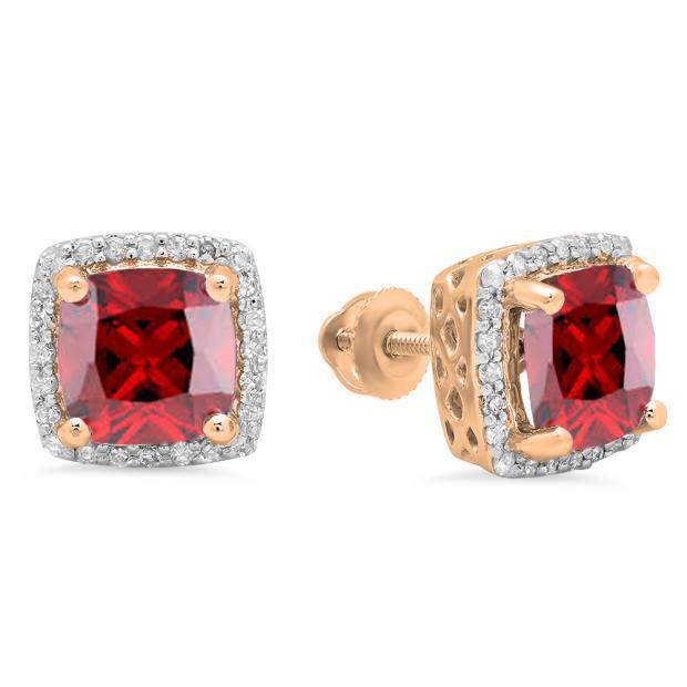 2.80 Carat (ctw) 18K Rose Gold Cushion Cut Garnet & Round Cut White Diamond Ladies Square Frame Halo Stud Earrings