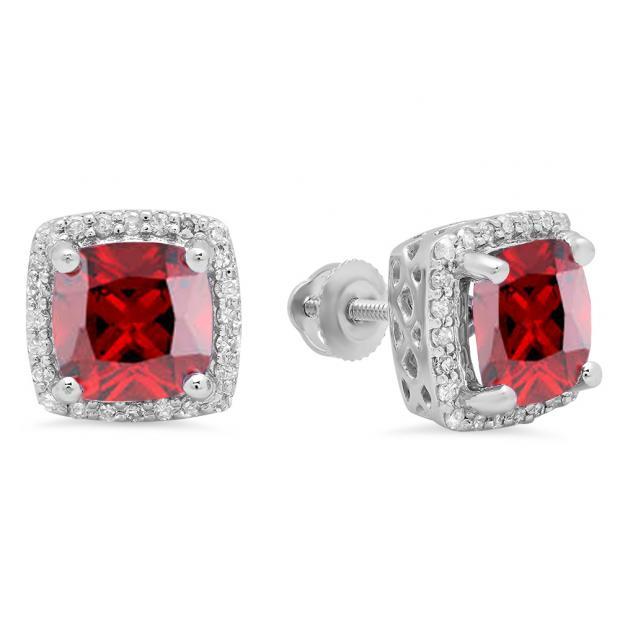 2.80 Carat (ctw) 18K White Gold Cushion Cut Garnet & Round Cut White Diamond Ladies Square Frame Halo Stud Earrings