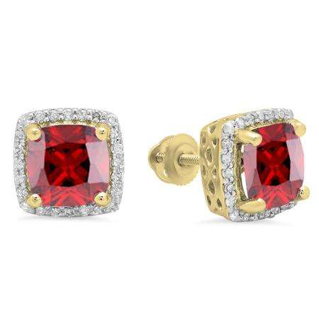2.80 Carat (ctw) 18K Yellow Gold Cushion Cut Garnet & Round Cut White Diamond Ladies Square Frame Halo Stud Earrings